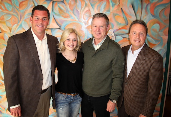 Pictured (L-R): BMI's Mark Mason, Keyes, 19 Entertainment's Jim Weatherson, and BMI's Jody Williams.Photo: Drew Maynard