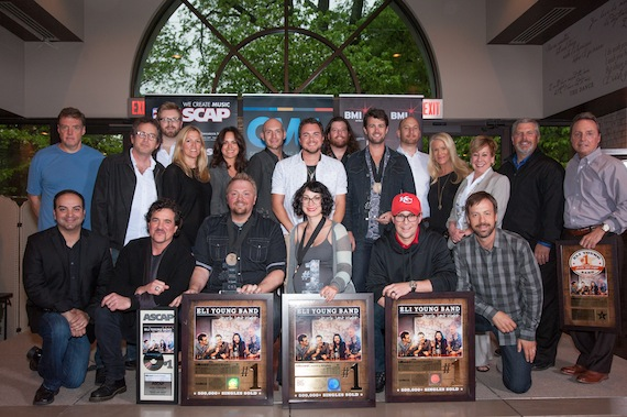 "Pictured are (Front, L-R): Big Machine Music Publishing's Mike Molinar, Big Machine Label Group President & CEO Scott Borchetta, ""Drunk Last Night"" songwriters Josh Osborne and Laura Veltz, and Republic Nashville's Jimmy Harnen and Matthew Hargis. (Back, L-R): Producers Frank Liddell and Justin Niebank, Warner/Chappell's BJ Hill, BMI's Leslie Roberts, ASCAP's LeAnn Phelan, Eli Young Band, manager George Couri, Big Machine Label Group's Allison Jones, Black River Publishing's Celia Froehlig and Gordon Kerr, and BMI's Jody Williams. Photo credit: Steve Lowry"