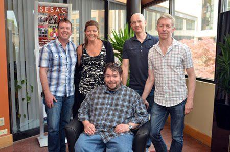 Pictured (L-R): AJ Burton (Nettwerk/Revelry), Shannan Hatch (SESAC), Mike Fiorentino, Greg Beeckman (Revelry), Mark Jowett (Nettwerk).