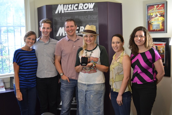 Pictured (L-R): MusicRow's Kelsey Grady, Eric Parker, and Troy Stephenson; songwriter Heather Morgan; MusicRow's Jessica Nicholson and Sarah Skates.