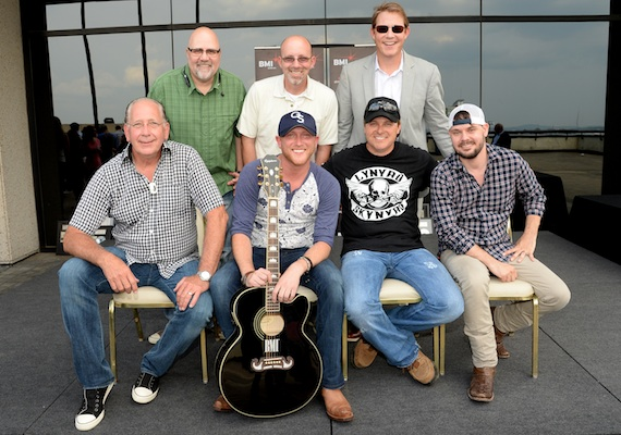 (back row, L-R): Kevin Herring (VP National Promotion, WMN), Terry Wakefield (Sr. VP Creative, Sony ATV Music Publishing), and Clay Bradley (Asst. VP, Writer/Publisher Relations, BMI Nashville); (front row, l-r): John Esposito (President & CEO, WMN), Cole Swindell, co-writer Shane Minor, and producer Jody Stephens.