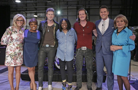 Pictured L-R: The View's Jenny McCarthy, Sherri Shepherd, FGL's Brian Kelley, The View's Whoopi Goldberg, FGL's Tyler Hubbard, guest host MSNBC's Thomas Roberts and The View's Barbara WaltersPhoto Credit: Heidi Gutman/ABC