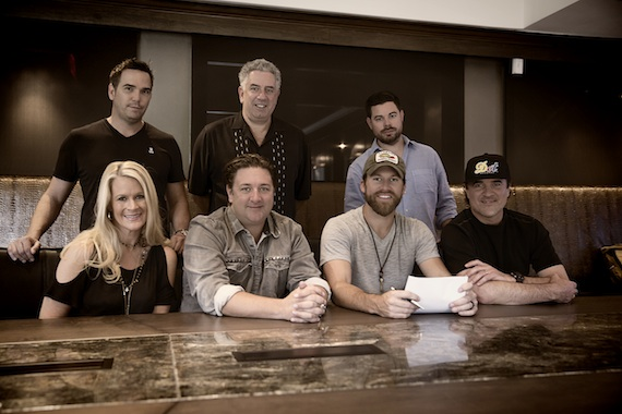 Pictured (L-R): Back Row – Vector Management's Ross Schilling, Ken Levitan, Trey Wilson;Front Row – BMLG SVP A&R Allison Jones, Dot Records GM Chris Stacey, Dot Records artist Drake White, BMLG President & CEO Scott BorchettaSeth Hellman for Dot Records