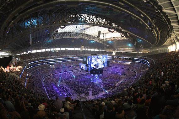 Bird's eye view of AT&T Stadium.