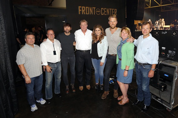 """Pictured (L-R): Tom Becci, Chief Operations Officer and Senior Vice President, UMG Nashville; Don Maggi, Managing Partner and Executive Producer, """"Front and Center""""; Lady Antebellum's Dave Haywood; Denis Gallagher, Partner, """"Front and Center""""; Lady Antebellum's Hillary Scott and Charles Kelley; Sarah Trahern, CMA Chief Executive Officer; Tom Douglas, songwriter and CMA Board member. Photo: Donn Jones / CMA"""