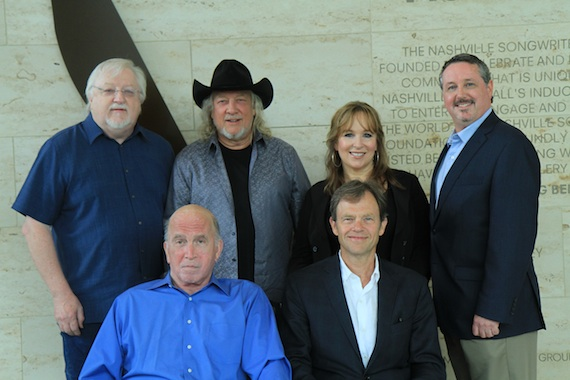 Pictured, (back row, L-R): Nashville Songwriiters Hall of Fame Board Chair and Hall of Fame member Pat Alger; inductees John Anderson and Gretchen Peters and Hall of Fame executive director Mark Ford. Front row, (L-R): Inductees Paul Craft and Tom Douglas.