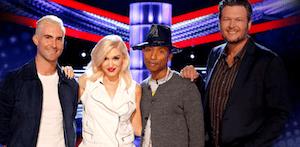 Pictured (L-R): The Voice's Adam Levine, Gwen Stefani, Pharrell Williams, and Blake Shelton.