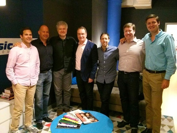 Pictured (L-R): Peter Shane (SVP, Creative Services, Spirit Music Group), Jon Singer (CFO, Spirit Music Group), Daniel Hill (Cal IV), David Renzer (Chairman, Spirit Music Group), Mark Fried (President, Spirit Music Group), Art Levy (VP of Business & Administration, Spirit Music Group), Ross Cameron (Manager of Finance & Business Development, Spirit Music Group)