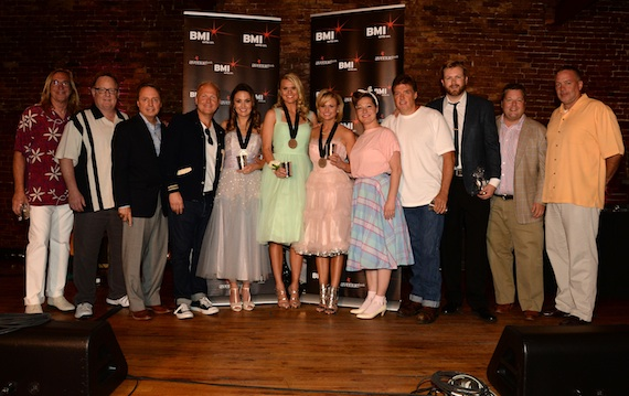 Pictured (l-r): producer Chuck Ainlay, Sony Music Nashville's Gary Overton, BMI's Jody Williams, Sony ATV Music Publishing's Troy Tomlinson, co-writers Natalie Hemby and Nicolle Galyon, Miranda Lambert, Sony ATV Music Publishing's Abbey Adams, producer Frank Liddell, Warner/Chappell Music's BJ Hill, BMI's Bradley Collins, and Sony Music Nashville's Keith Gale.