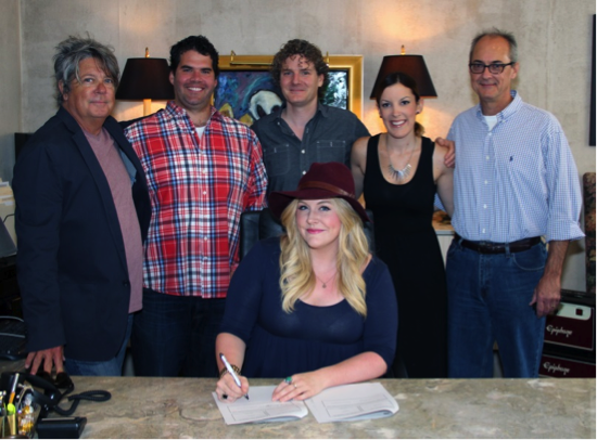 Pictured (back row, L-R): Patrick Clifford, VP Music Publishing and A&R Nashville, Disney Music Publishing;  Greg Gallo, Creative Director, Big Deal Music Nashville; Mike Daly, Director, A&R, Disney Music Group; Ciara Gardner, A&R Coordinator, Disney Music Publishing; Dale Bobo, SVP, Big Deal Music Nashville. Front row: Steph Jones, songwriter)