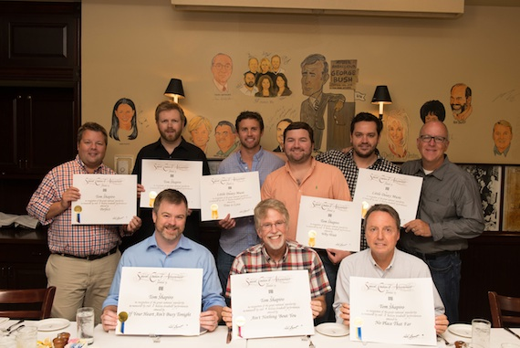 Front (L-R):  Warner Chappell's Ben Vaughn, Tom Shapiro, BMI's Jody Williams  Back (L-R): BMI's Bradley Collins, Warner Chappell's BJ Hill, Ryan Beuschel, Blain Rhodes, Travis Carter, Phil May. Photo: Emily Edmonds