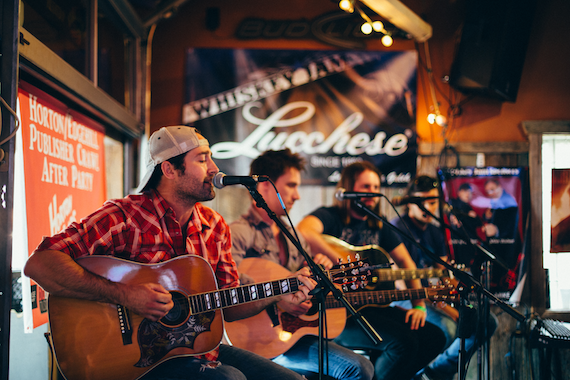 "Pictured (L-R) – Josh Thompson (Big Machine Music), Matt Rogers (ole), CJ Solar (Sea Gayle), Charlie Worsham (Little Louder Music) perform during ""Horton Hears A Hit Pub-lishers Crawl"""