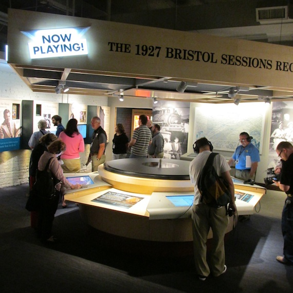 A circular display in the exhibit hall. Photo: Mary Bufwack.