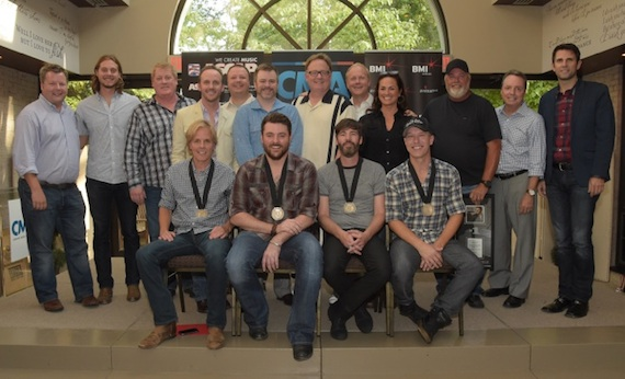 Picured, Standing (L-R):  BMI's Bradley Collins, CMA's Brenden Oliver, ASCAP's Mike Sistad, This Music's Rusty Gaston, RCA Nashville's Josh Easler, Warner/Chappell's Ben Vaughn, Sony Music Nashville Chairman/CEO Gary Overton, Sony/ATV Tree's Troy Tomlinson, ASCAP's LeAnn Phelan, Producer James Stroud, BMI's Jody Williams, CMA's Damon Whiteside Seated (L-R): Marv Green, Chris Young, Paul Jenkins, Jason Sellers
