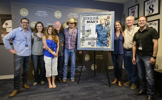Pictured (L-R):  Jonathan Lamy (Executive Vice President, Communications, RIAA), Cara Duckworth Weiblinger (Vice President, Communications, RIAA), Lee Adams (VP of National Promotion, Broken Bow Records), Benny Brown (President/CEO, Broken Bow Records), Jason Aldean, Liz Kennedy (Director, Communications and Gold & Platinum Program, RIAA), Rick Shedd (GM, Broken Bow Records) and Jon Loba (Executive Vice President, Broken Bow Records).