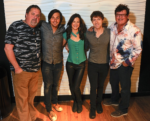 Pictured (L-R): CMA Board member Bob DiPiero, Charlie Worsham, Sarah Zimmermann and Justin Davis of Striking Matches, and Monty Powell backstage at the CMA Songwriters Series Wednesday, July 30 at Joe's Bar in Chicago. Photo: Matt Marton / CMA