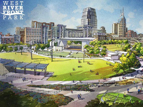 A rendering of Nashville's riverfront amphitheater