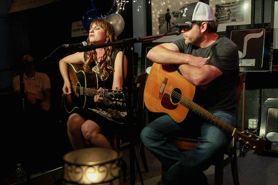 Caitlyn Smith and Rhett Akins perform during last night's NMPA Songwriter Showcase at Nashville's Bluebird Café. Photo: NMPA/Bev Moser.
