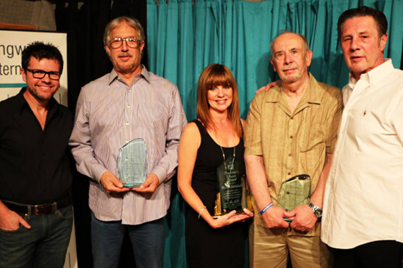 Pictured (L-R): NSAI President Lee Thomas Miller, Mervin Louque (NSAI President's Choice Award), Eileen Littlefield (Maggie Cavender Award), Jerry Kennedy (Stephen Foster Award), NSAI Executive Director Bart Herbison