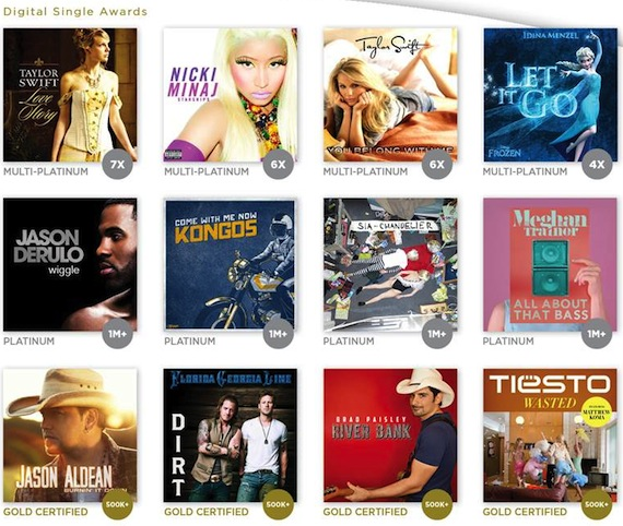 A few of the digital singles which earned RIAA sales awards last month.