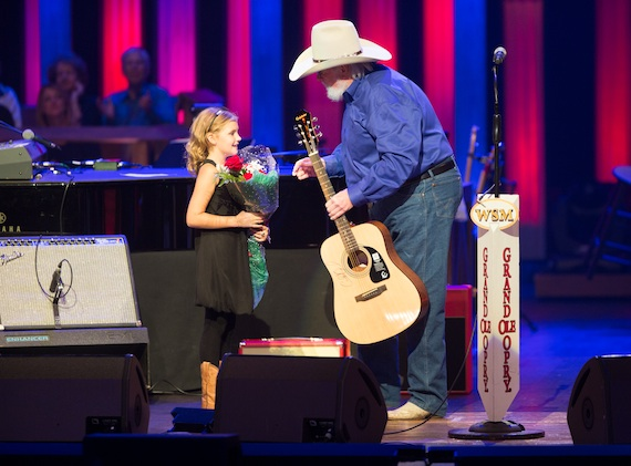 Charlie Daniels with St. Jude patient Audrey Stranger. Photo: Chris Hollo