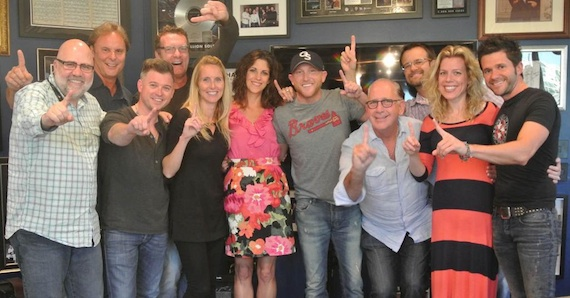 Pictured (L to R): Kevin Herring (SVP, Promotion), Scott Hendricks (EVP, A&R), Justin Luffman (VP, Brand Management), Peter Strickland (EVP & GM, WMN), Kristen Williams (VP, National Promotion), Kerri Edwards (KPentertainment), Cole Swindell, John Esposito (President & CEO, WMN), Chad Schultz (National Dir., Radio Marketing & Promotion), Katie Bright (Dir., National Promotion), Michael Carter