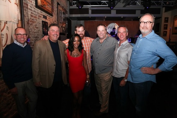 Pictured (L-R): Mickey Guyton, Charlie Morgan (CRB/CRS President/WLHK), Tim Roberts (WYCD), Guyton, Royce Risser (UMG Nashville), Bill Mayne (CRB/CRS Executive Director), Steve Hodges (Capitol Nashville) and Mike Dungan (UMG Nashville). Photo: Kristen England