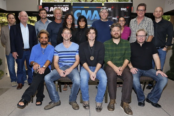 Pictured (L-R): Producer Tony Brown, co-writer Ashley Gorley, Joe Nichols, co-writer Bryan Simpson, producer Mickey Jack Cones, (back row) BBR Music Group EVP Jon Loba and CEO Benny Brown, Warner/Chappell Music Publishing's Ryan Beuschel, Combustion Music's Chris Farren, ASCAP's LeAnn Phelan and EVP of Membership John Titta, Sea Gayle Music's Mike Owens, Red Bow Records VP of Promotion Renee Leymon, BMI's Perry Howard and Triple 8 Management's George Couri. Photo: Ed Rode.