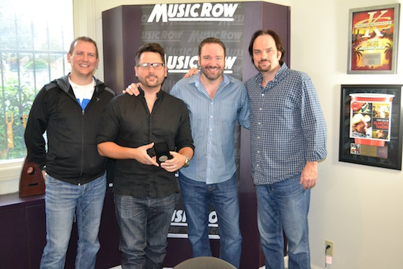 Pictured (L-R): MusicRow Chart Director Troy Stephenson, Chris DeStefano, Josh Van Valkenburg, and MusicRow Owner/Publisher Sherod Robertson
