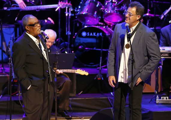 Sam Moore and Vince Gill perform at the 2014 Country Music Hall of Fame Induction Ceremony. Photo: Donn Jones