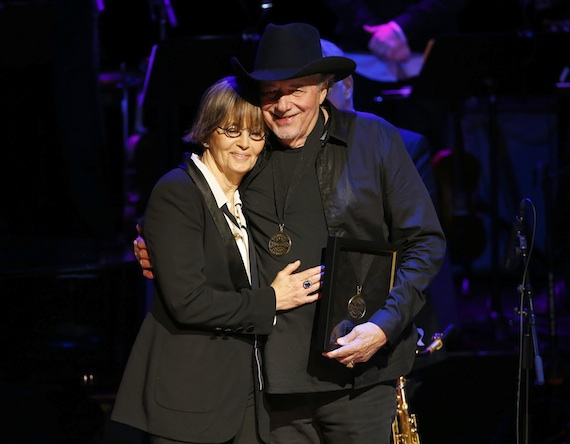 Suzi Cochran and Bobby Bare induct the late Hank Cochran at the 2014 Country Music Hall of Fame Induction Ceremony. Photo: Donn Jones