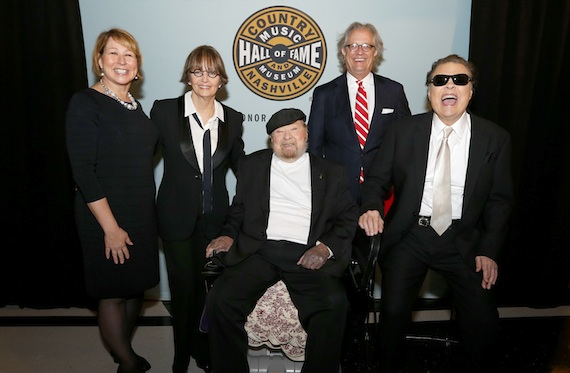 Pictured (L-R): CMA's Sarah Trahern, Suzi Cochran, Mac Wiseman, ??, and Ronnie MIlsap.