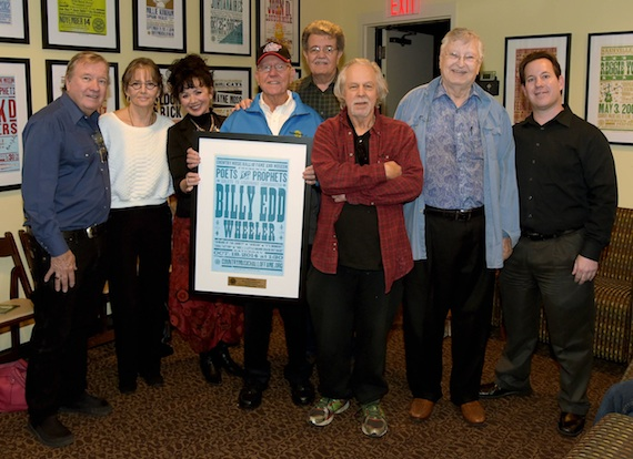 Pictured (l-r) are: Buzz Cason; Suzi Cochran, widow of 2014 Hall of Fame inductee Hank Cochran; Dana McVicker; Billy Edd Wheeler; James Talley; Steve Young; John D. Loudermilk; and the Country Music Hall of Fame and Museum's Michael Gray.   Photo by Rick Diamond