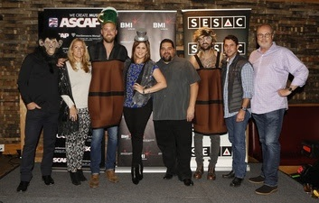 Pictured (L-R): Rodney Clawson, Leslie Roberts (BMI), Charles Kelley, Hillary Scott, Tim Fink (SESAC), Dave Haywood, Michael Martin (ASCAP) and Mike Dungan (UMG).