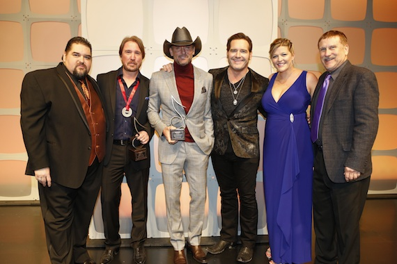 Pictured (L-R): SESAC's Tim Fink, Song of the Year honoree Lance Miller, Tim McGraw, artist Jerrod Niemann and SESAC's Shannan Hatch and John Mullins.