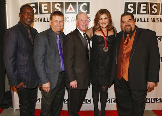 Pictured (L-R): SESAC's Trevor Gale, John Mullins and Pat Collins, Lady Antebellum's Hillary Scott and SESAC's Tim Fink.