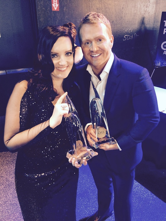 """Brandy Clark and Shane McAnally with their CMA Awards for writing the 2014 CMA Song of the Year, """"Follow Your Arrow,"""" with Kacey Musgraves, who also recorded the song. Photo: Ebie McFarland"""