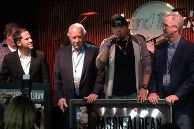 Pictured (L-R): Jon Loba, Benny Brown, Aldean, Carson James.
