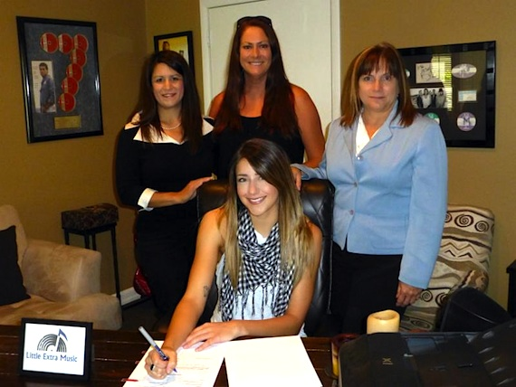 Pictured (Seated): Kelsey Anna; (Standing, L-R): Denise Stevens, Loeb & Loeb; Lisa Ramsey-Perkins, Little Extra Music; Denise Nichols, The Primacy Firm