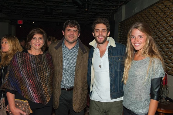Pictured (L-R): Pam Akins (Mom), Akins, Thomas Rhett (son), with wife Lauren