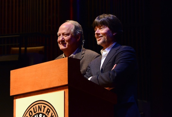 Pictured (L-R): Dayton Duncan and Ken Burns deliver the keynote address during the CMA Board of Directors meeting Wednesday in Nashville. Photo: Caitlin Harris / CMA