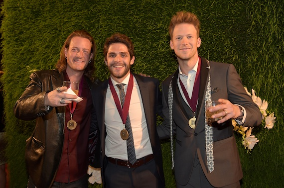 Tyler Hubbard of Florida Georgia Line, singer-songwriter Thomas Rhett, and Brian Kelley of Florida Georgia Line attend the BMI 2014 Country Awards. Photo: Rick Diamond/Getty Images for BMI