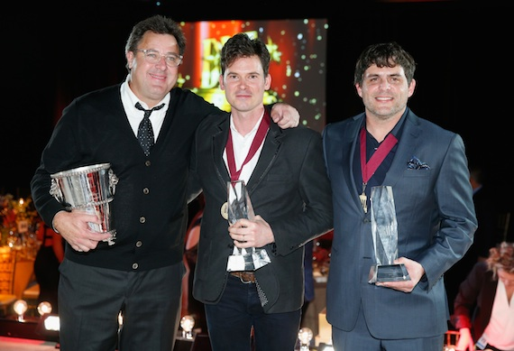 BMI Icon honoree Vince Gill, songwriter Ketch Secor, and Songwriter of the Year winner Rhett Akins. Photo:  John Russell/BMI
