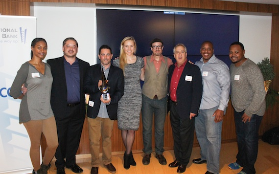 Pictured (L-R): Lauren Carter (ole office coordinator), Steven Karopwicz (SVP MusicBox), David Weitzman (ole VP Business Development), Jennifer Essiembre (ole Creative Manager), Brandon Schott (ole Sr. Mgr., Sync and Licensing), Andrew Robbins (MusicBox, Director, Film & TV Licensing), Eric Spence (ole-Bluestone) and Marcus Spence (ole-Bluestone).