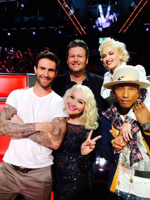 Pictured (clockwise): Adam Levine, Blake Shelton, Gwen Stefani, Pharrell and RaeLynn