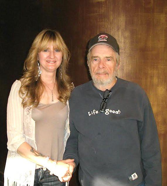 Sound Emporium studio manager Juanita Copeland with Merle Haggard.
