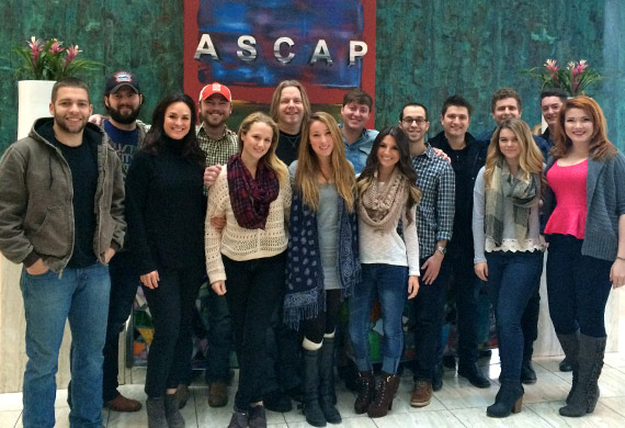 Pictured: ASCAP's LeAnn Phelan (third from left) with 2015 ASCAP GPS participants (l-r) Carlton Anderson, Jeremy Crady, Nick Columbia, Maggie Delone, Jeff Anderson, Casey Weston, Jared Scott, Vanessa Branson, Ben Goldsmith, Jordan Schmidt, Carmen Brandy, Tyler Flowers, Thomas Finchum and CayleeAnna Hammack. Not pictured: Hannah Ellis, Jilian Linklater and Daphne Willis.