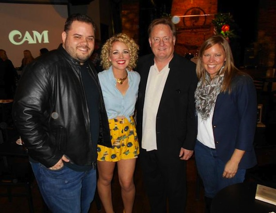 Pictured (L-R): Michael Bryan (VP Programming iHeartMedia Nashville), Cam, Gary Overton (Chairman & CEO, Sony Music Nashville), and Lesly Simon (VP Promotions, Arista Nashville)