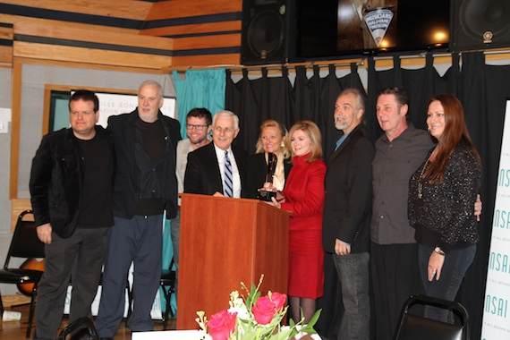 Pictures (L-R): Bobby Tomberlin, David Briggs, Lee Thomas Miller, Harry Chapman, LaRawn Scaife Rhea, Honoree Marsha Blackburn, Joe Scaife, Bart Herbison, Lisa Ramsey