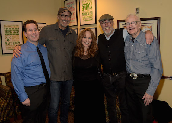Pictured (L-R): The Country Music Hall of Fame and Museum's Michael Gray, previous Poets honoree Mark D. Sanders, Gretchen Peters, and previous Poets honorees Roger Cook and Jerry Foster. Photo: Rick Diamond
